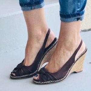 NIB Kitten Heel Wedge Espadrille Slingback Sandal
